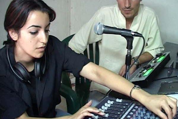 Young People learning radio skills at Ibdaa Cultural Centre